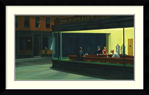 Framed Art Print, 'Nighthawks, 1942' by Edward Hopper: Outer Size 42 x 27