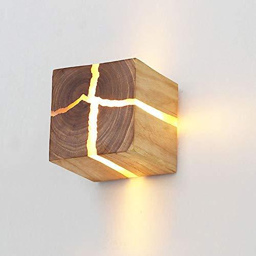 Lámpara de pared LED de madera 5W lámpara de pared creativa lámpara de noche luz blanca cálida, lámpara de noche...