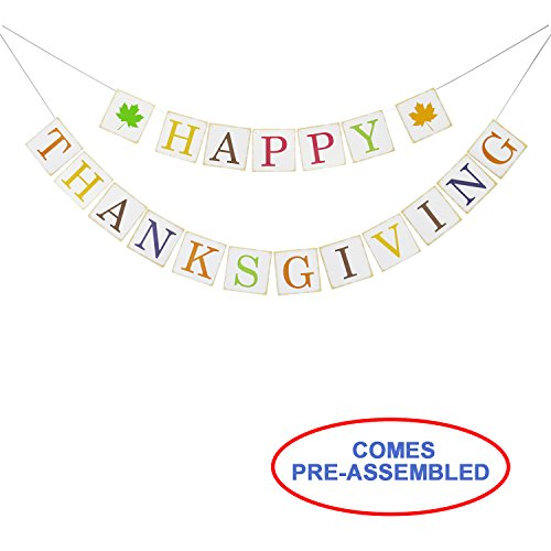 Thanksgiving Decorations - Happy Thanksgiving Banner Bunting Garland