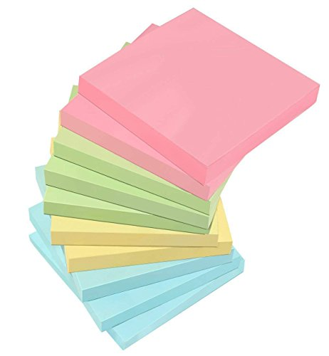 10 Pack Sticky Notes, Kereda Self-Stick Note 3 in x 3 in, 100 Sheets/Pad, Super Stick Assorted 4 Candy Colors Easy to Post for Home Office Tabs (Notepad Sticky Adhesive 3')