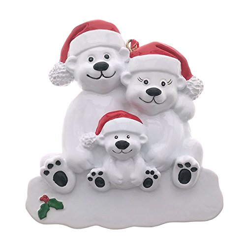 Bear Family Personalize Christmas Ornament, Made of Resin (3 Heads)