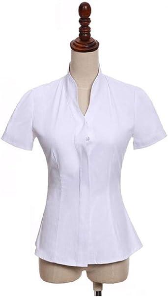 Camisa de Mujer Blanca M/C con Cuello Chimenea (50): Amazon.es: Ropa y accesorios