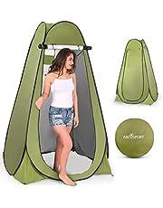 خيمة خصوصية منبثقة - خيمة استحمام محمولة في الهواء الطلق، مرحاض للتخييم، حامل غرفة تغيير الملابس، مأوى للمطر مع نافذة - التخييم والشاطئ - سهلة التركيب، قابلة للطي بحقيبة حمل - خفيفة الوزن ومتينة