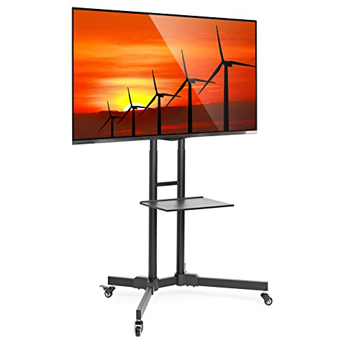 Mount Factory Rolling TV Stand Mobile TV Cart for 32-65 inch Plasma Screen, LED, LCD, OLED, Curved TV's - Mount Universal with Wheels (Upright Tv Stand)
