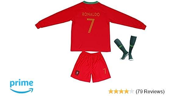 Amazon.com   FPF 2018 Portugal Cristiano Ronaldo  7 Home Football Soccer  Kids Jersey Short Socks Set Youth Sizes   Sports   Outdoors 38635474b