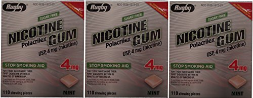 Nicotine Gum 4mg Sugar Free Mint Generic for Nicorette 110 Pieces per Box Pack of 3 Total 330 Pieces (330 Rugby)