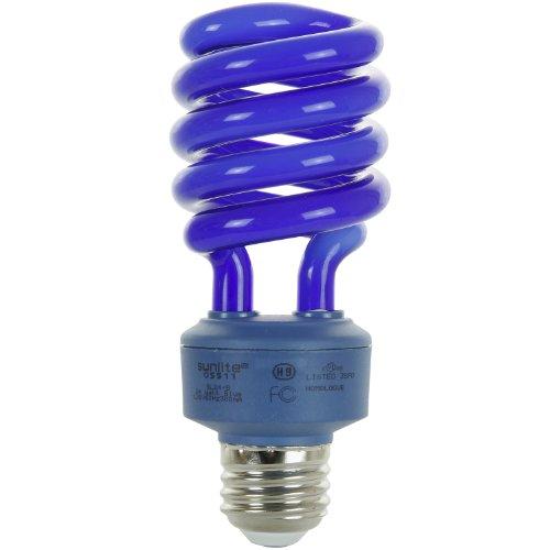 Sunlite SL24/B 24 Watt Spiral Energy Saving Compact Fluorescent CFL Light Bulb (100-Watt Incandescent Equivalent) Medium Base Blue ()
