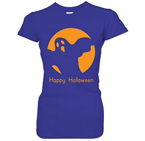 Spooky Ghost Haunted Jack O Lantern Happy Halloween Costume Juniors T-Shirt (XL Royal) -