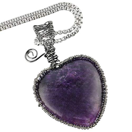 - TUMBEELLUWA Heart Necklace Wire Wrapped Healing Crystal Pendant with Chain Charm Stone Jewelry for Women,Amethyst