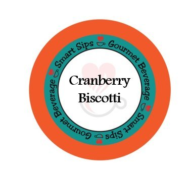 - Smart Sips, Cranberry Biscotti Gourmet Flavored Coffee, 24 Count, Compatible With All Keurig K-cup Machines