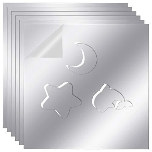 Sntieecr 6 Piezas 29,5 x 29,5 cm Pegatinas Flexibles de Pared Espejo Espejo de Plástico Autoadhesivo Espejo PET Suave…