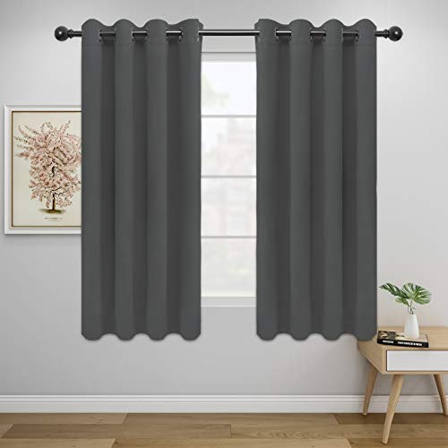 Easy-Going Blackout Curtains for Bedroom, Solid Thermal Insulated Grommet and Noise Reduction Window Drapes, Room Darkening Curtains for Living Room, 2 Panels(52x46 in,Gray)