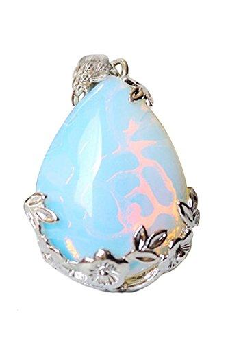 SODIAL Women Angel Tears Water Drop Semi-Precious Gemstones Pendant -Opal