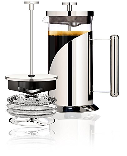 Cafe Du Chateau 34oz French Press Coffee Maker, 4 Level Filtration System, 304 Grade Stainless Steel, Heat Resistant Borosilicate Glass (Pressed Maker Cold Coffee)