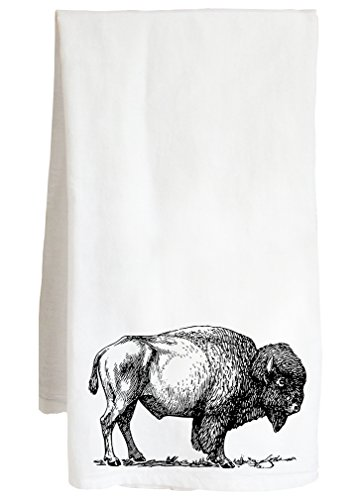 Live Nice Bison - Native Themed American Western USA - Farm Flour Sack Kitchen Tea ()