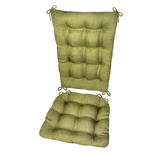 Rocking Chair Cushion Set - Hayden Meadow Green - Size Extra-Large - Reversible, Latex Foam Filled Seat Pad and Back Rest (Solid Color, Presidential) -