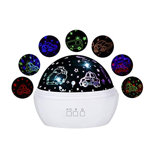 Baby Boys Night Light Projector, Cars and Undersea 2 Films in 1 Night Lamps, Rotating and Colorful Mood Nursery Soother Lighting, Gift for Boys Baby Kids Toddlers Adults in Bedroom (White, Cars)