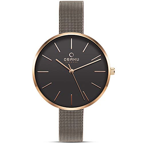 Obaku Denmark - Womens Designer Watch - Classic Yet Modern Design Elegant Rose Gold Steel Case - Mesh Band - Model: Mynte (Granite) (Best Designer Womens Watches)