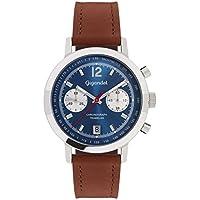 Gigandet Men's Quartz Watch Tramelan Chronograph Vintage Design Analog Leather Strap Brown Blue G10-002