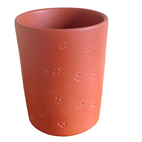 Four Petal Flower, Terracotta Clay Plant Pot, 6H x 4.75D. Hand Made in the USA (Terracotta)