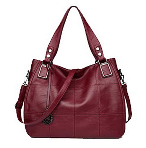 Bags Stitching Claret Bags Crossbody Women's Shopping TSDBH192558 AalarDom Claret Contrast Pu Tote Casual x7IY7w4z