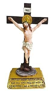 5pulgadas Decoración de cruz crucifijo cruz católica decoración del coche de pie unidad Estatua