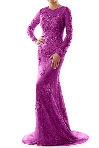 MACloth Women Mermaid Long Sleeve Lace Evening Formal Gown Wedding Party Dress Fuchsia