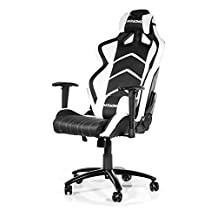 AKRacing Racing Style Desk Office Gaming Chair with High Backrest, Recliner, Swivel, Tilt, Rocker and Seat Height Adjustment Mechanisms. PU Leather White/Black
