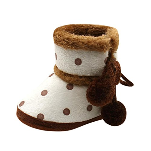 Fheaven Baby Girls Boys Soft Dot Booties Warm Snow Boots Infant Toddler Newborn Warming Pompom Bandage Shoes (3-6Month, Brown) ()