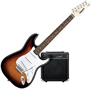 starcaster by fender strat electric guitar starter pack sunburst musical instruments. Black Bedroom Furniture Sets. Home Design Ideas