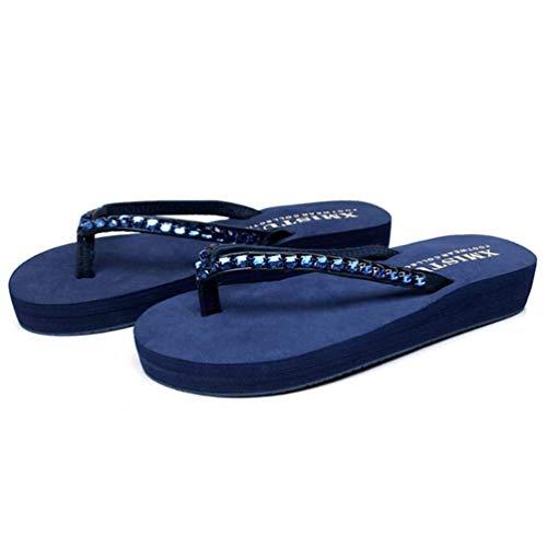 Fuxitoggo Sandali Zeppa Donna 35 colore Dimensione Con Antiscivolo Blu Per Strass Bianca ZBqwxZrSRp