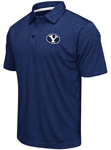 Colosseum Men's NCAA Heathered Trend-Setter Golf/Polo Shirt-BYU Cougars-Heathered BYU Blue-Large