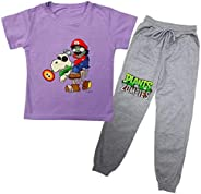 FashionLee Toddlers Kids Plants vs. Zombies Short Sleeve Round Neck T-Shirt and Cotton Pants Set for Summer Fa
