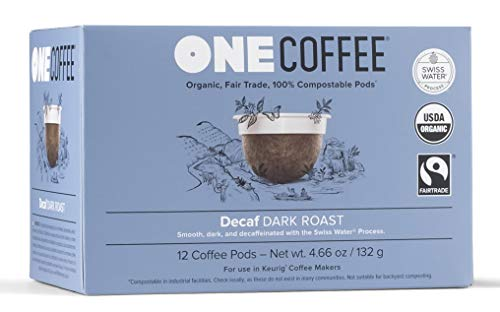 OneCoffee Organic Decaf Swiss Water 12 Count Single Serve Coffee 100 Percent Compostable K Cup for Keurig Machines - Dark Roast
