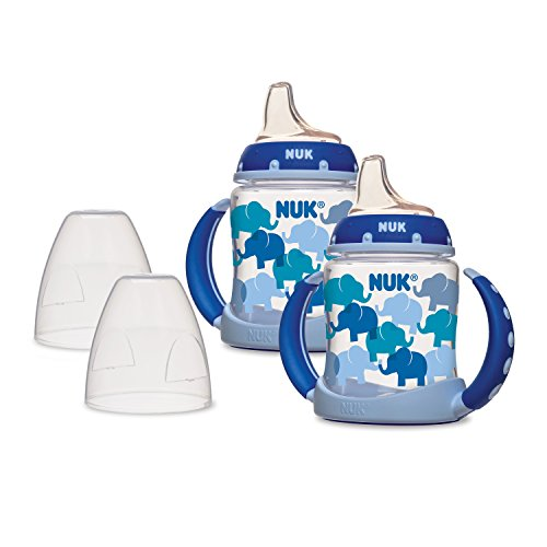 NUK Learner Sippy Cup, Blue Elephants, 5oz 2pk ()