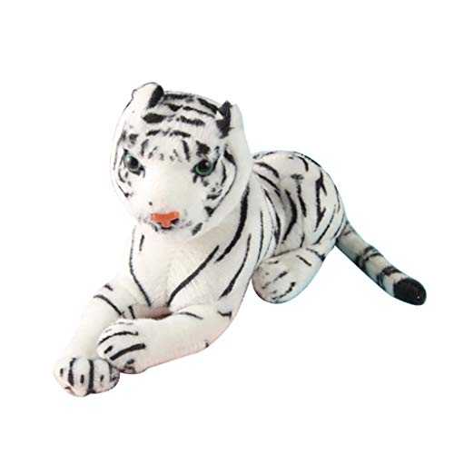 Unionm Kawaii Simulation Cute Tiger Pillow Bedtime Cushion Soft Plush Toy Stuffed Animal Toy Baby Doll Gift for Adults/Kids/Boys/Girls/Dogs/Cats (White)