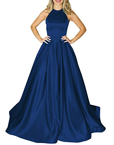 MARSEN Halter Satin Long Prom Gown Beaded Open Back A Line Evening Formal Dress Navy Blue Size (Satin Formal Gown)