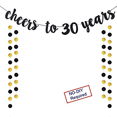 Cheers to 30 Years Gold Glitter Banner For Adult 30th Birthday Party Wedding Anniversary Party Decorations