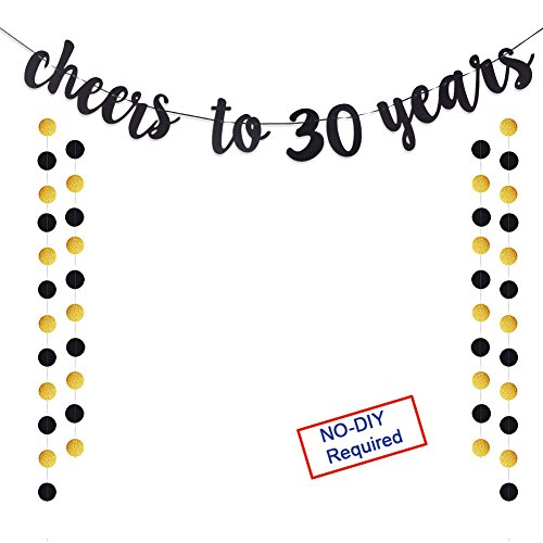 Why Choose Cheers to 30 Years Gold Glitter Banner For Adult 30th Birthday Party Wedding Anniversary ...