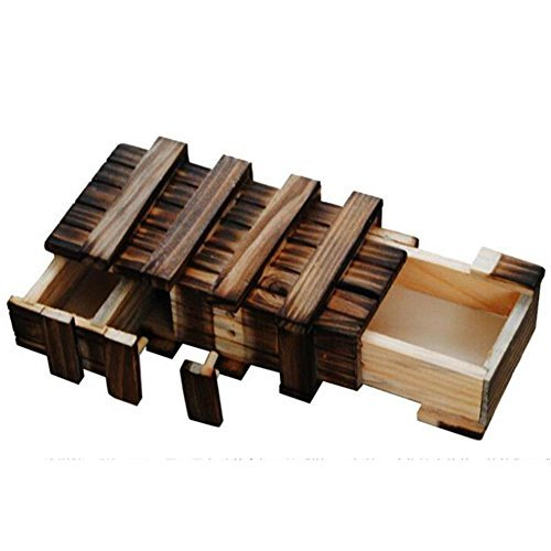 Magic Wooden Puzzle Box Secure Secret Drawer Compartment Intelligence Brain Toys Xmas Gift
