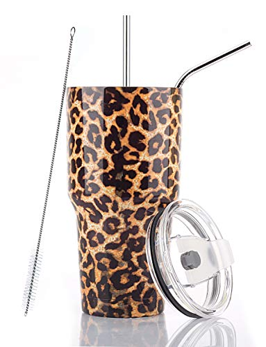 DYNAMIC SE 30oz Tumbler Double Wall Stainless Steel Vacuum Insulated Travel Mug with Splash-Proof Lid Metal Straw and Brush (Leopard)