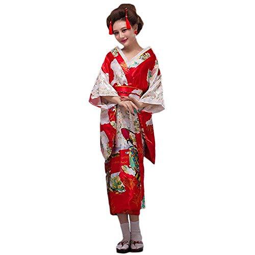 Women's Japanese Kimono Robe Elegant Floral Yukata OBI Belt Outfit Geisha Costume Red]()