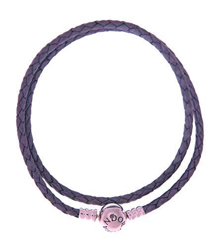 PANDORA Purple Braided-Double Leather Charm Bracelet, 590745CPE (41) by PANDORA (Image #1)