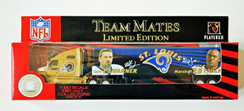 Fleer 2001 LIMITED EDITION NFL Team Mates Collectible 1:80 Scale Diecast Kenworth Tractor Trailer ST. LOUIS RAMS Kurt Warner & Marshall Faulk by White Rose