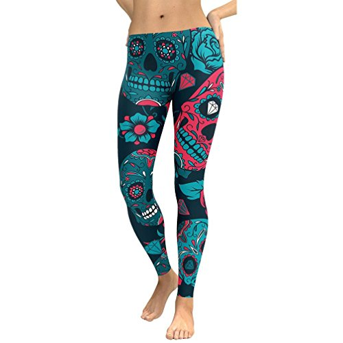 ARINLA Womens Skull Printed Yoga Capris Pants Workout Fitness Leggings (Skull Sweatpants)
