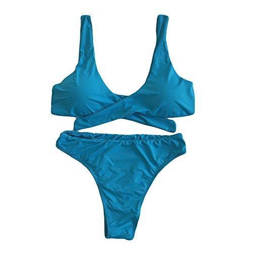 GTKC Mujeres Niñas Trajes De Baño Nudo Lindo Vendaje Bikini Push up Halter Brasil Triángulo Ropa De Playa Swimwear Verano Azul