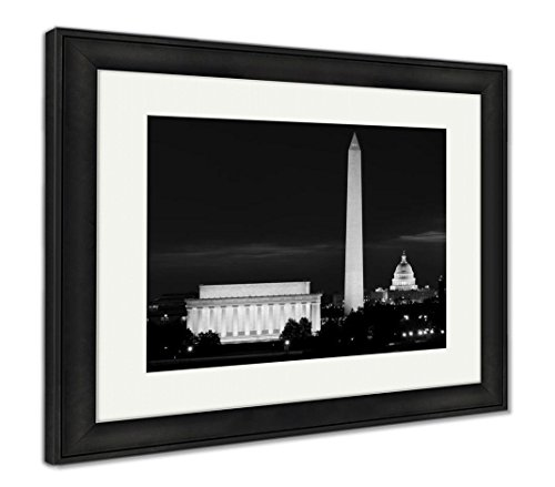 Ashley Framed Prints Washington Dc National Mall Sunrise Including Lincoln Memorial, Wall Art Home Decoration, Black/White, 26x30 (Frame Size), Black Frame, ()