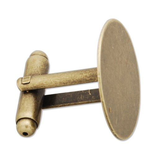 New Arrival- 20mm Flatback Pad Cufflinks Blanks- Antique Bronze Plated-20pcs