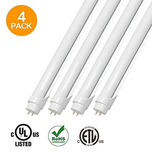 - EVE 4Pack T8 LED Light Tube 4ft 18W (48W equivalent),2520 Lumens 5000K White, Dual-End Powered, Frosted Cover,Fluorescent Light Bulbs Replacement,with or without ballast - internal driver
