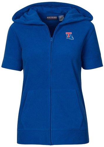 NCAA Louisiana Tech Bulldogs Women's Short Sleeve Full Zip Polar Fleece Hoodie, Ultra Marine, Small